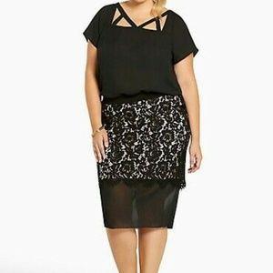 Torrid Pencil Skirt Plus Size 0X Blk Lace